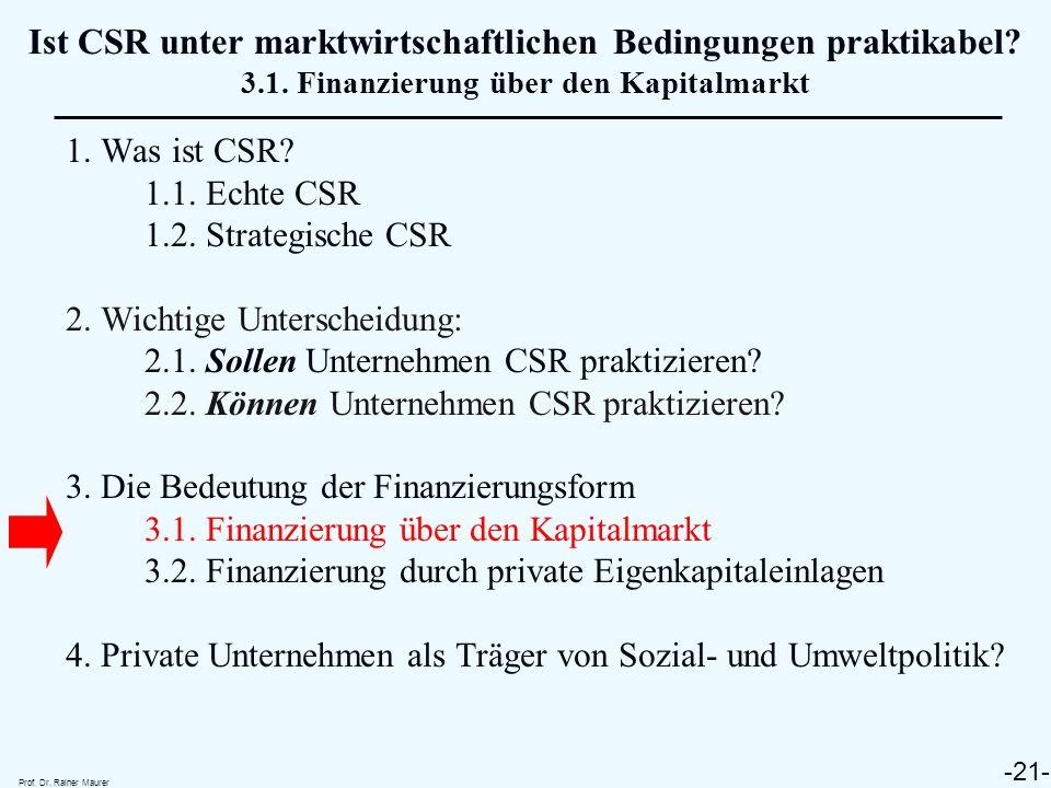 Ist CSR unter marktwirtschaftlichen Bedingungen praktikabel. 3. 1