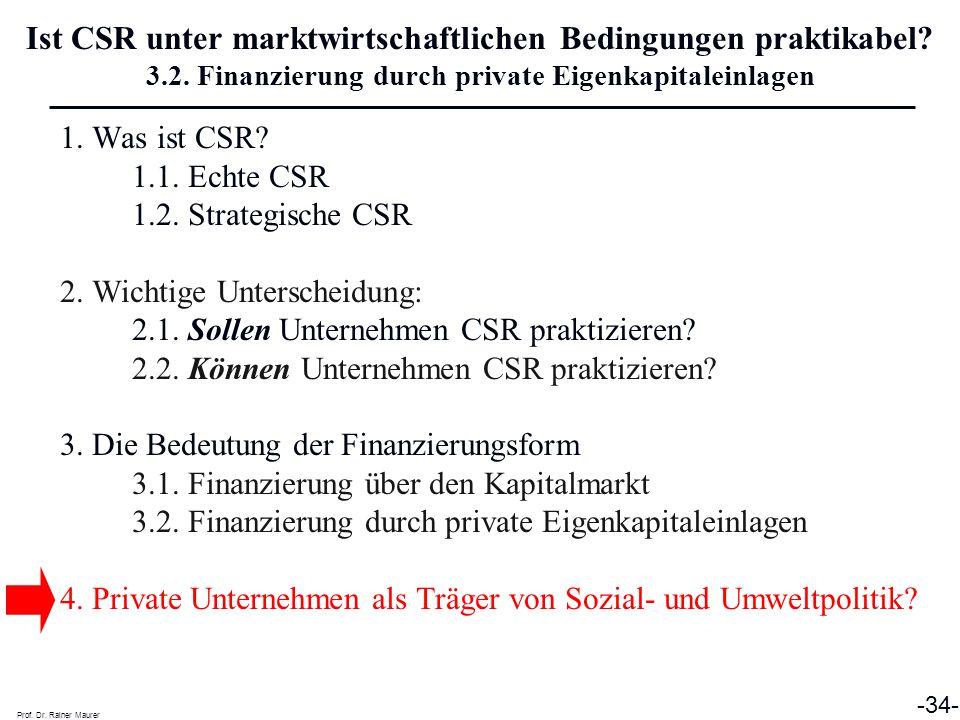 Ist CSR unter marktwirtschaftlichen Bedingungen praktikabel. 3. 2