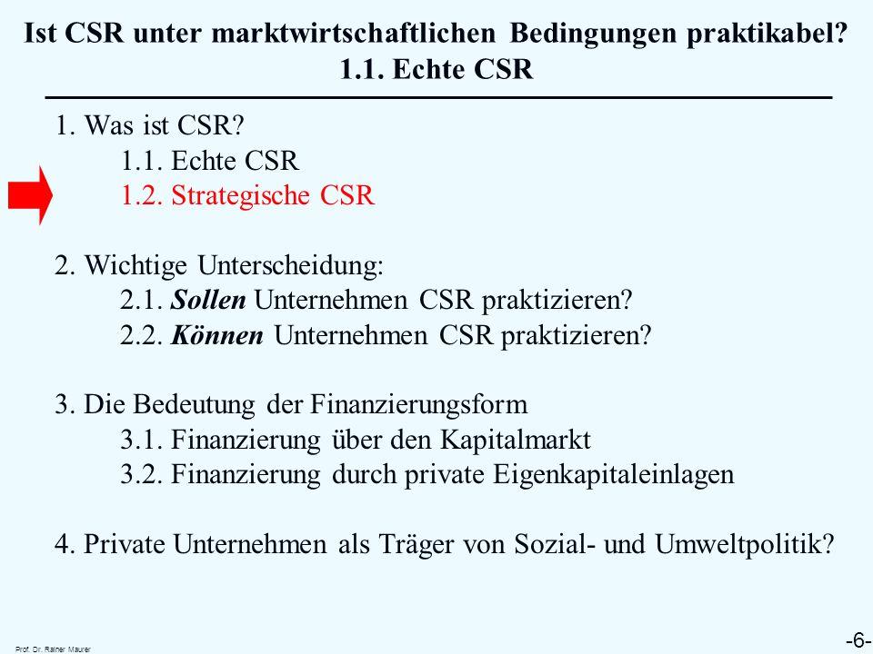 Ist CSR unter marktwirtschaftlichen Bedingungen praktikabel. 1. 1