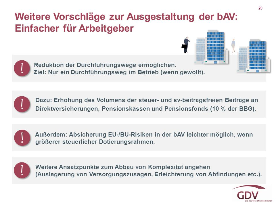 20 Weitere Vorschläge zur Ausgestaltung der bAV: Einfacher für Arbeitgeber. Reduktion der Durchführungswege ermöglichen.