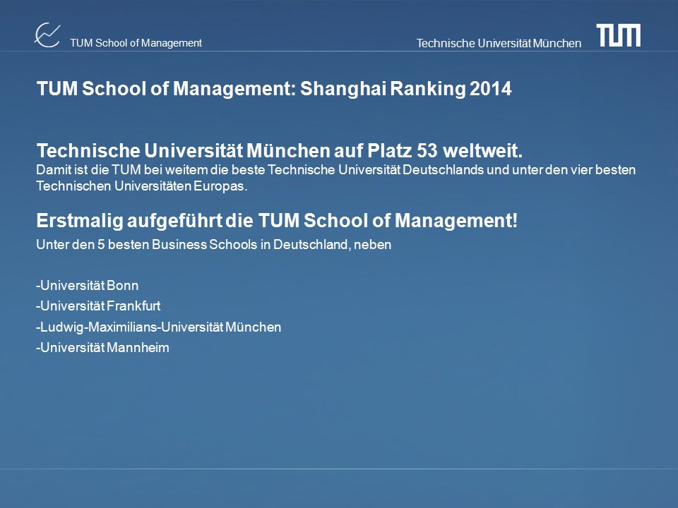 TUM School of Management: Shanghai Ranking 2014