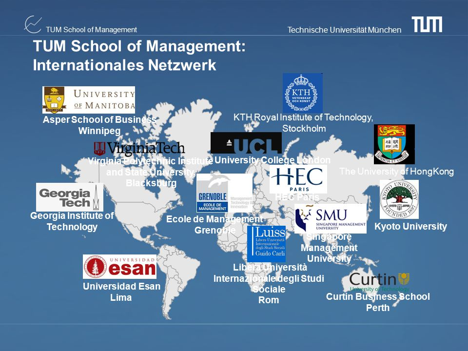 TUM School of Management: Internationales Netzwerk