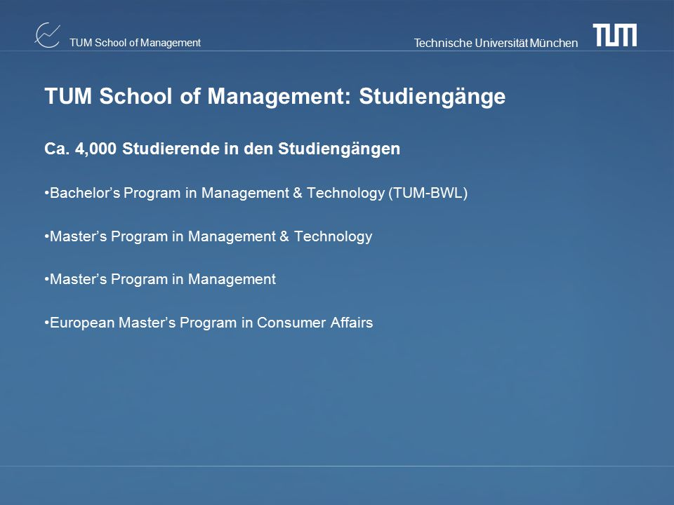 TUM School of Management: Studiengänge