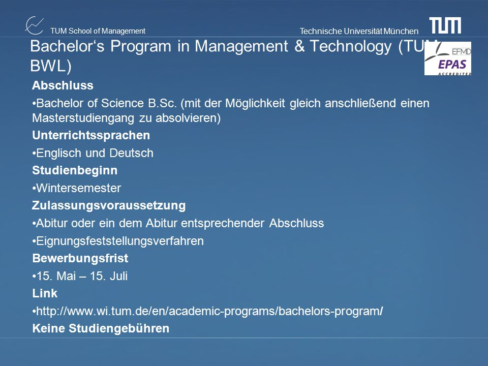 Bachelor's Program in Management & Technology (TUM-BWL)