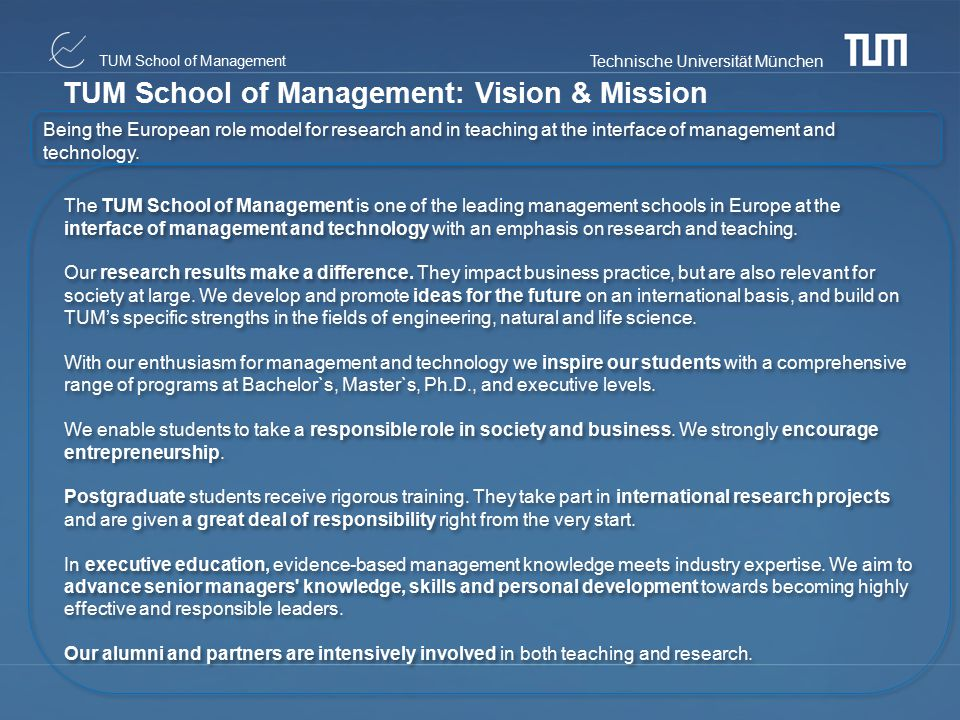 TUM School of Management: Vision & Mission