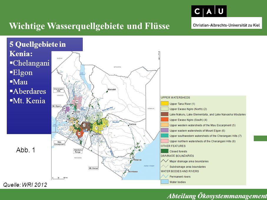 Wichtige Wasserquellgebiete und Flüsse