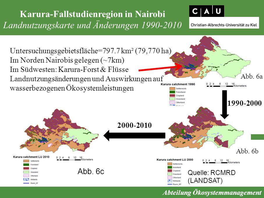 Karura-Fallstudienregion in Nairobi Landnutzungskarte und Änderungen 1990-2010