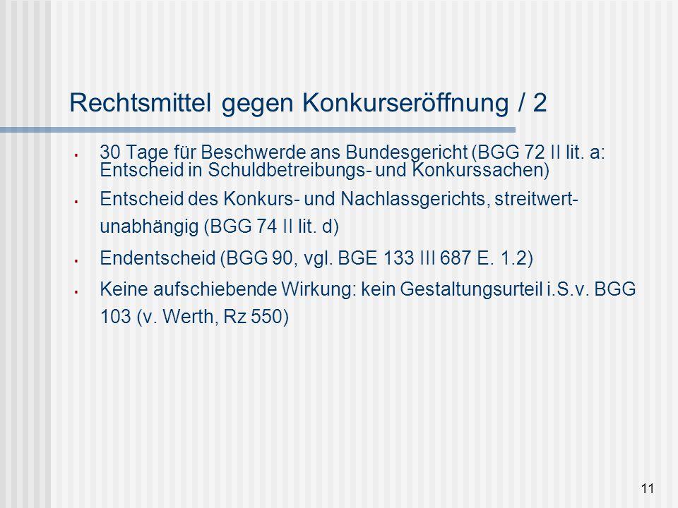 Rechtsmittel gegen Konkurseröffnung / 2