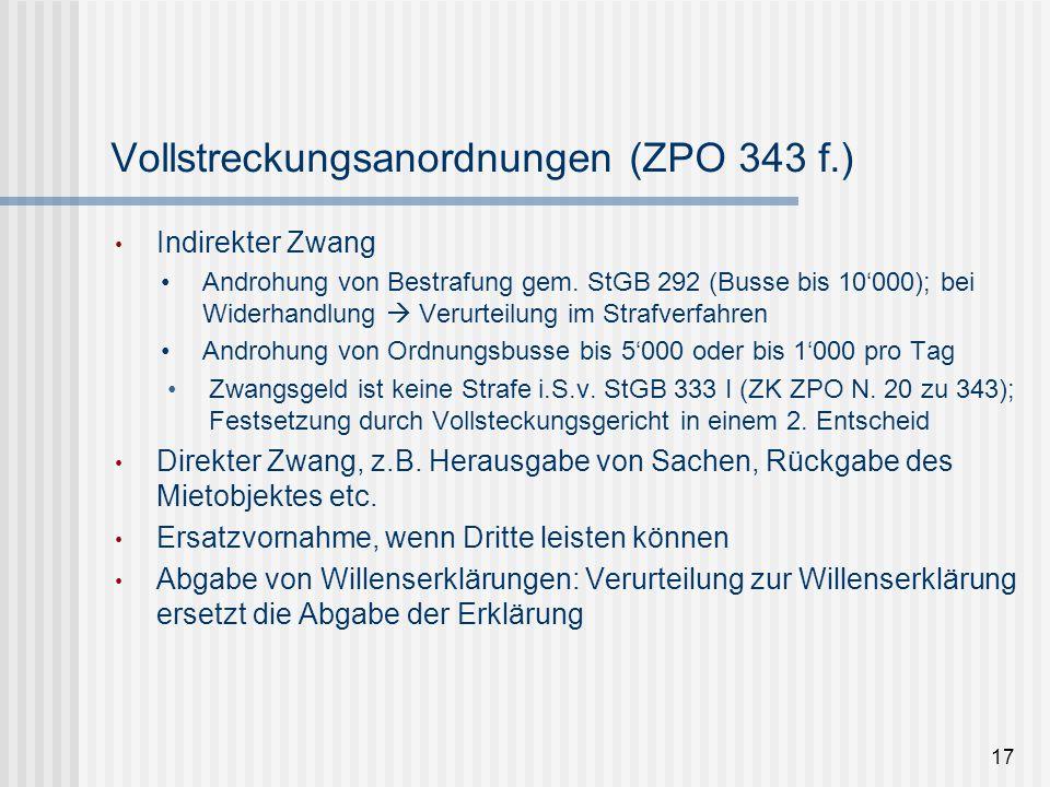 Vollstreckungsanordnungen (ZPO 343 f.)