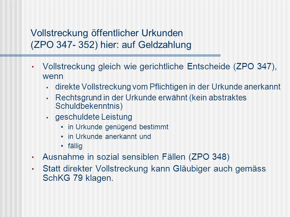 Vollstreckung öffentlicher Urkunden (ZPO 347- 352) hier: auf Geldzahlung