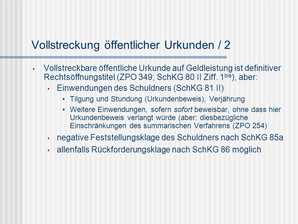 Vollstreckung öffentlicher Urkunden / 2
