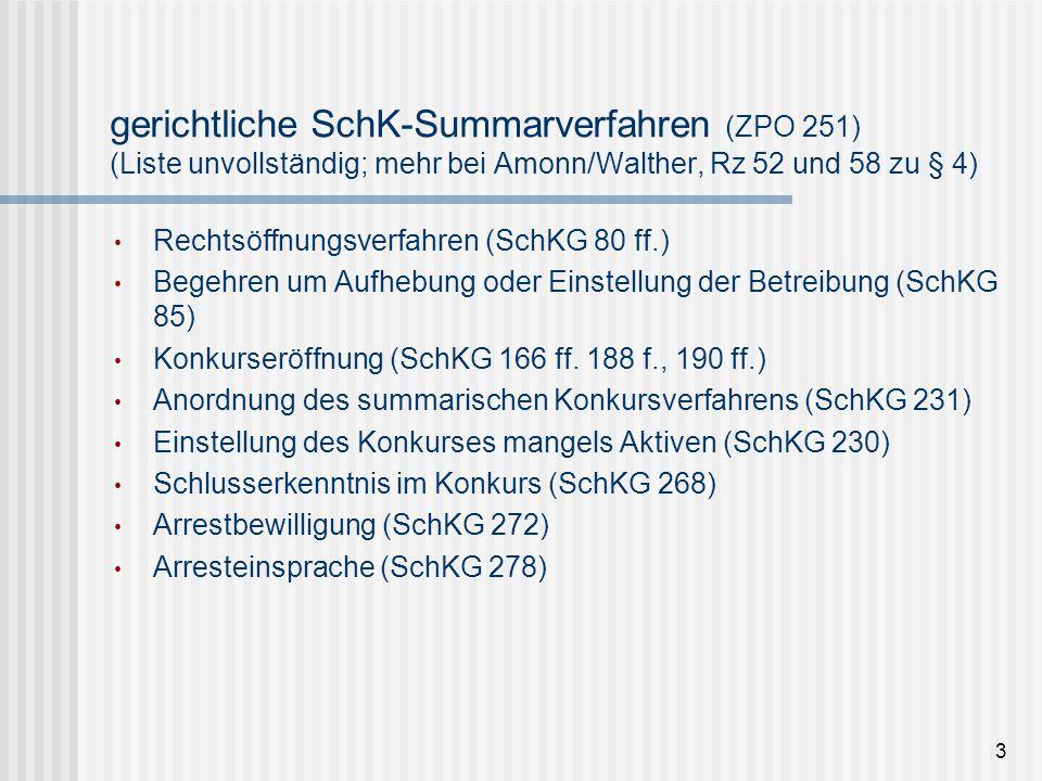 gerichtliche SchK-Summarverfahren (ZPO 251) (Liste unvollständig; mehr bei Amonn/Walther, Rz 52 und 58 zu § 4)