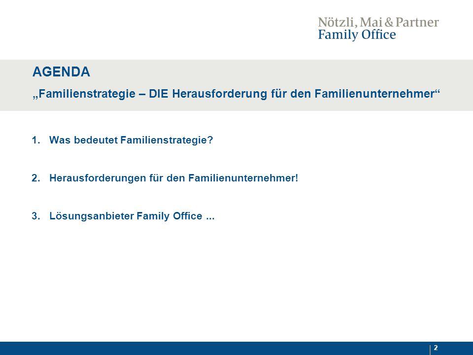 """AGENDA """"Familienstrategie – DIE Herausforderung für den Familienunternehmer 1. Was bedeutet Familienstrategie"""