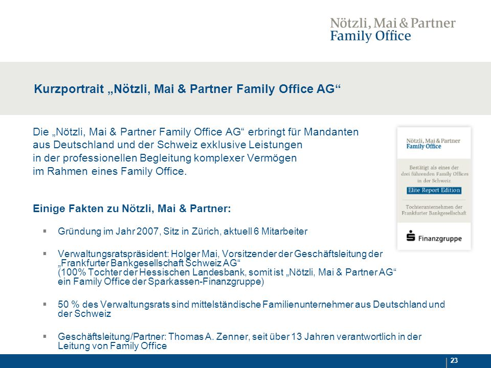 "Kurzportrait ""Nötzli, Mai & Partner Family Office AG"