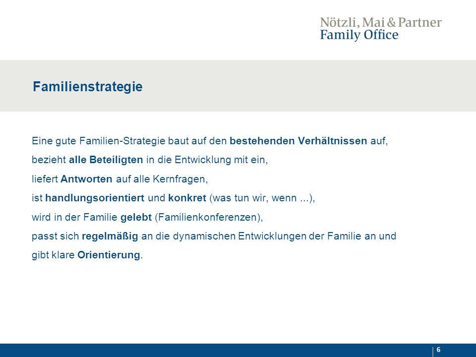 Familienstrategie Eine gute Familien-Strategie baut auf den bestehenden Verhältnissen auf, bezieht alle Beteiligten in die Entwicklung mit ein,