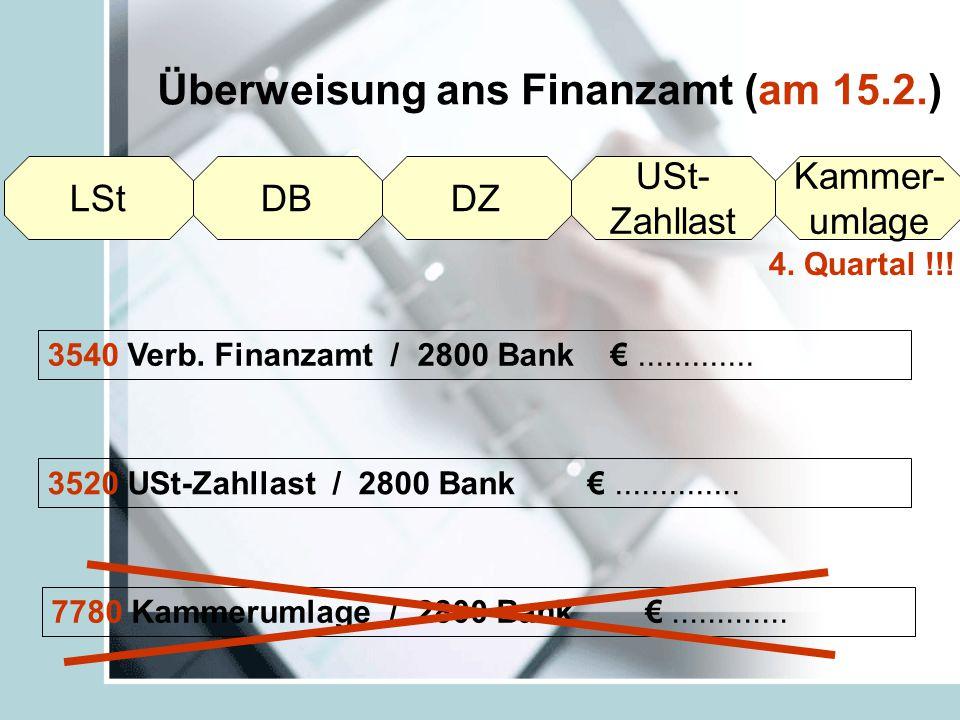 Überweisung ans Finanzamt (am 15.2.)