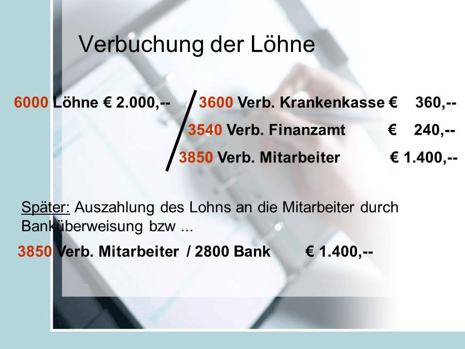 Verbuchung der Löhne 6000 Löhne € 2.000,--