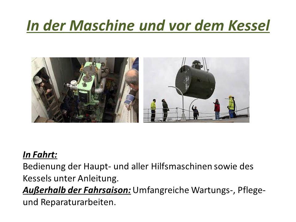 In der Maschine und vor dem Kessel