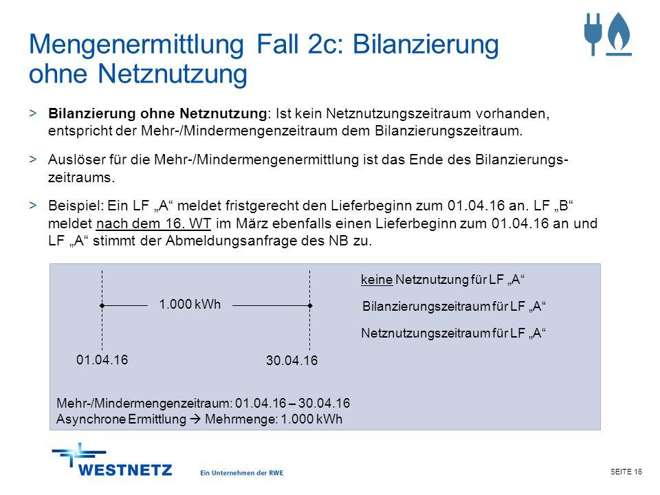 Mengenermittlung Fall 2c: Bilanzierung ohne Netznutzung