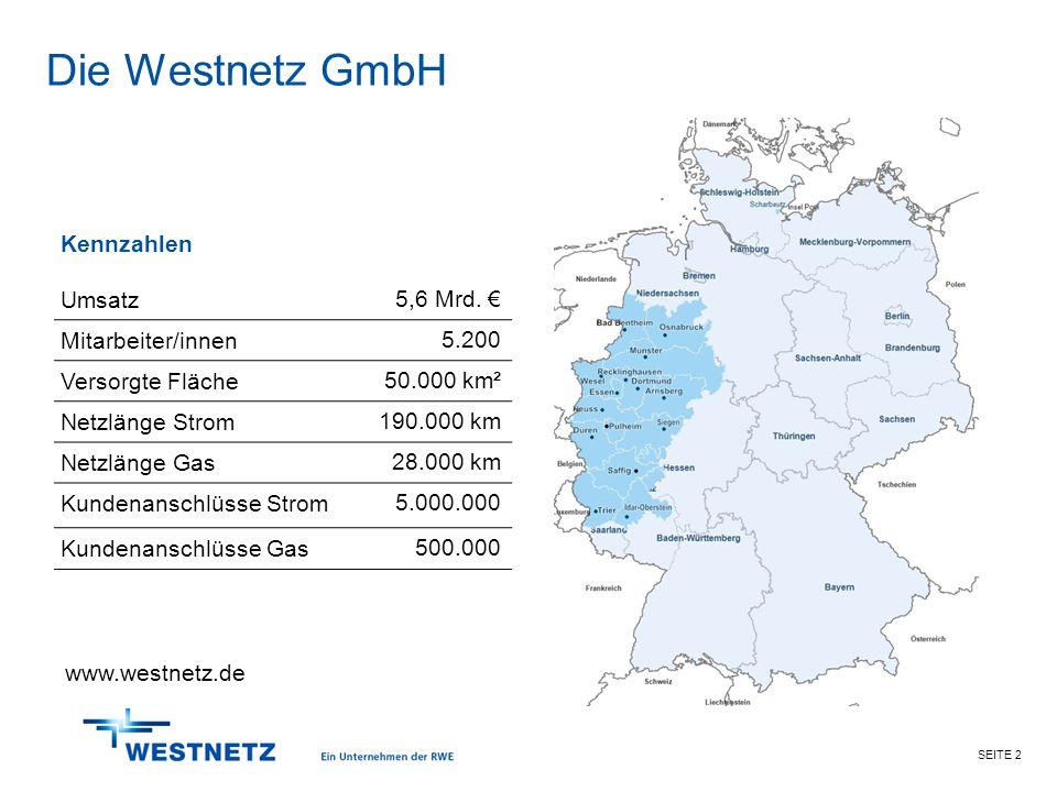 Die Westnetz GmbH Kennzahlen Umsatz 5,6 Mrd. € Mitarbeiter/innen 5.200