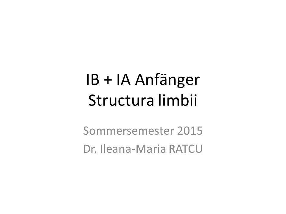 IB + IA Anfänger Structura limbii