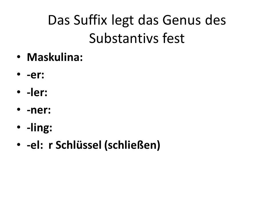 Das Suffix legt das Genus des Substantivs fest