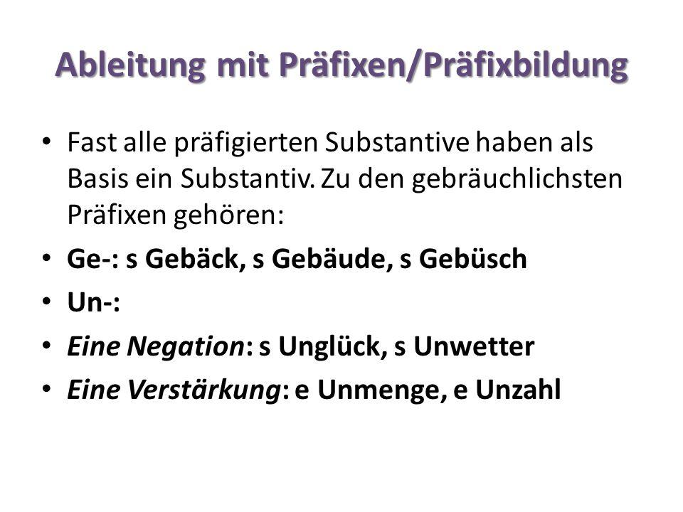 Ableitung mit Präfixen/Präfixbildung