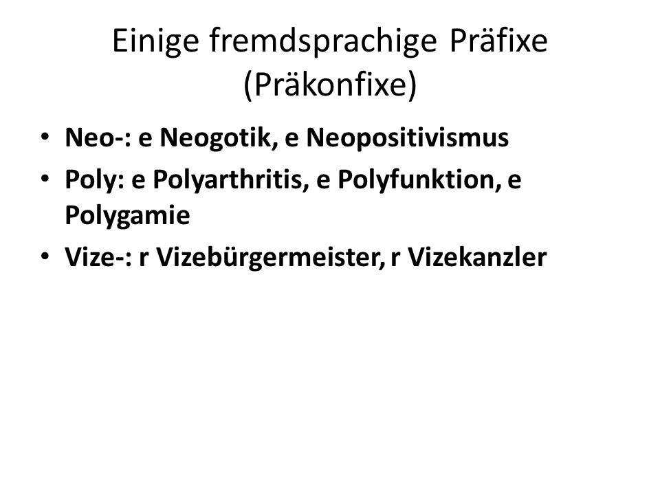 Einige fremdsprachige Präfixe (Präkonfixe)