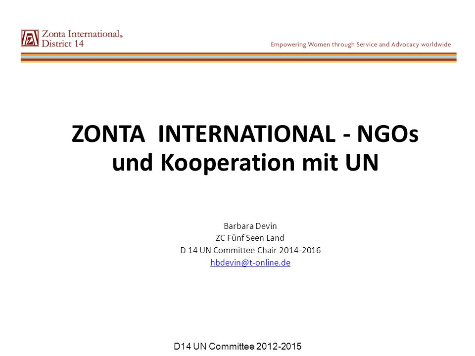 ZONTA INTERNATIONAL - NGOs und Kooperation mit UN