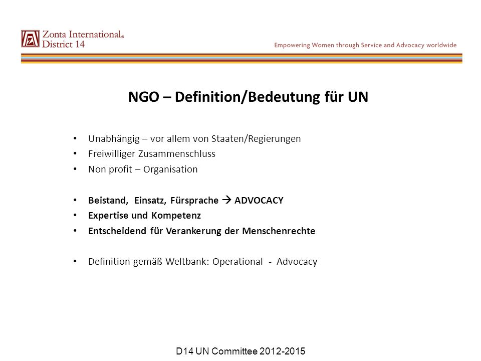 NGO – Definition/Bedeutung für UN