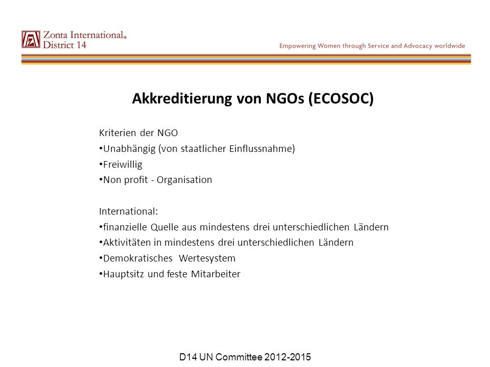 Akkreditierung von NGOs (ECOSOC)