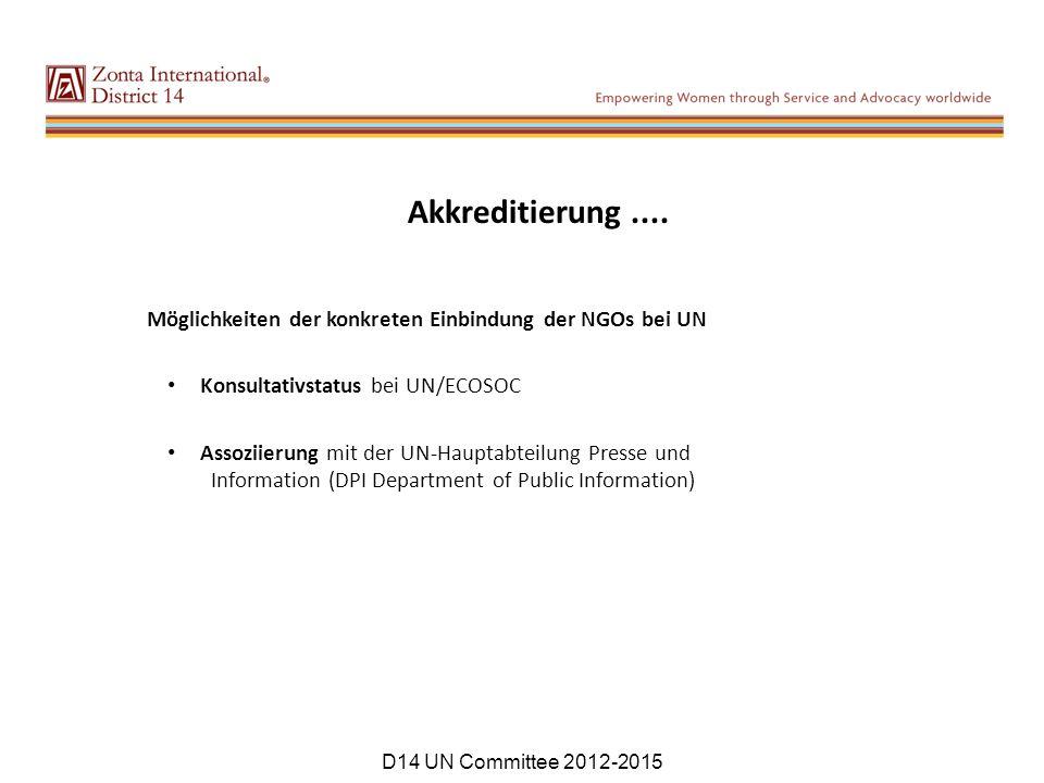 Möglichkeiten der konkreten Einbindung der NGOs bei UN