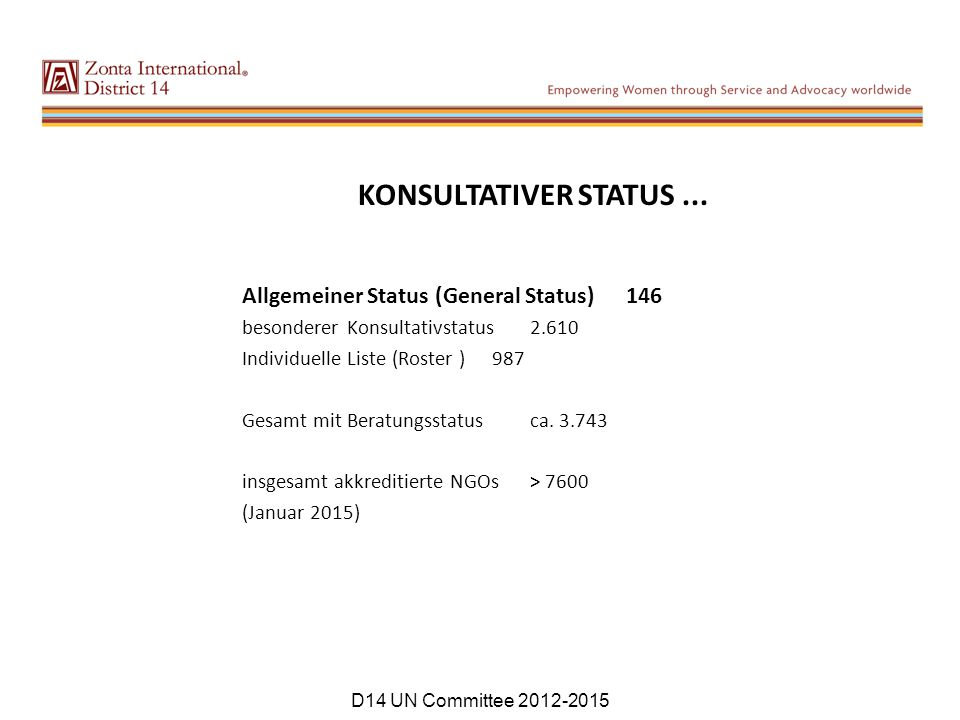 KONSULTATIVER STATUS ... Allgemeiner Status (General Status) 146