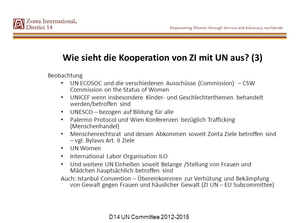 Wie sieht die Kooperation von ZI mit UN aus (3)