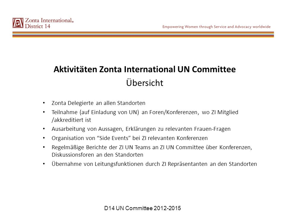 Aktivitäten Zonta International UN Committee