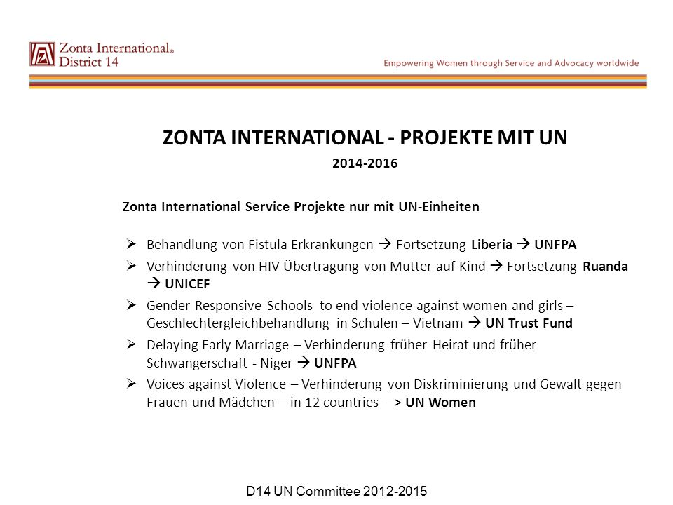 ZONTA INTERNATIONAL - PROJEKTE MIT UN
