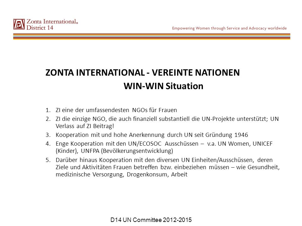 ZONTA INTERNATIONAL - VEREINTE NATIONEN WIN-WIN Situation
