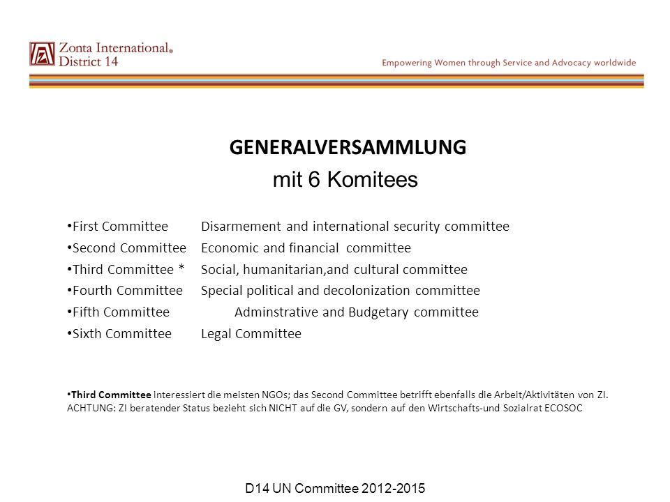 GENERALVERSAMMLUNG mit 6 Komitees