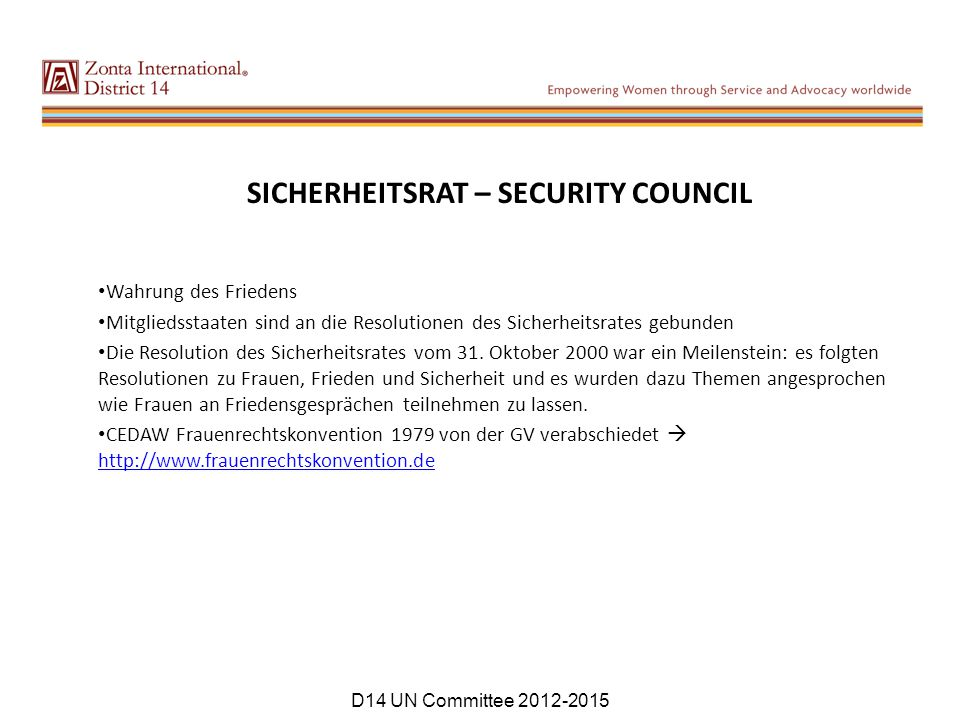 SICHERHEITSRAT – SECURITY COUNCIL