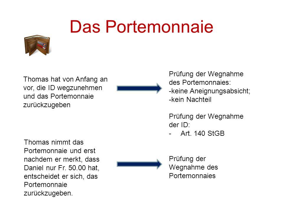 Das Portemonnaie Prüfung der Wegnahme des Portemonnaies: