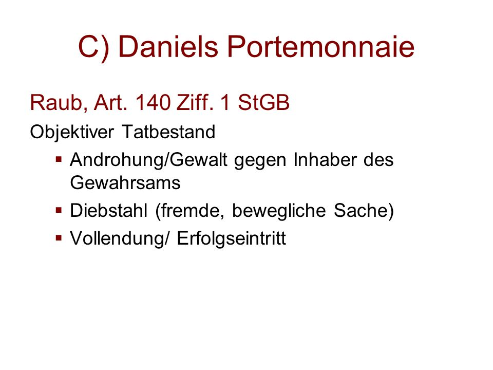C) Daniels Portemonnaie