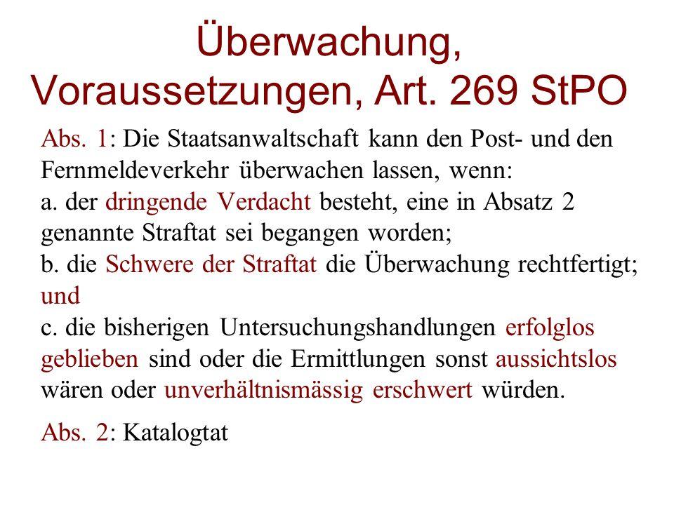 Überwachung, Voraussetzungen, Art. 269 StPO