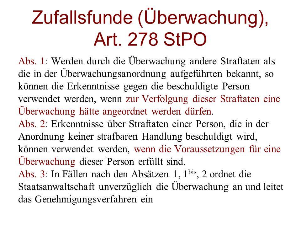 Zufallsfunde (Überwachung), Art. 278 StPO
