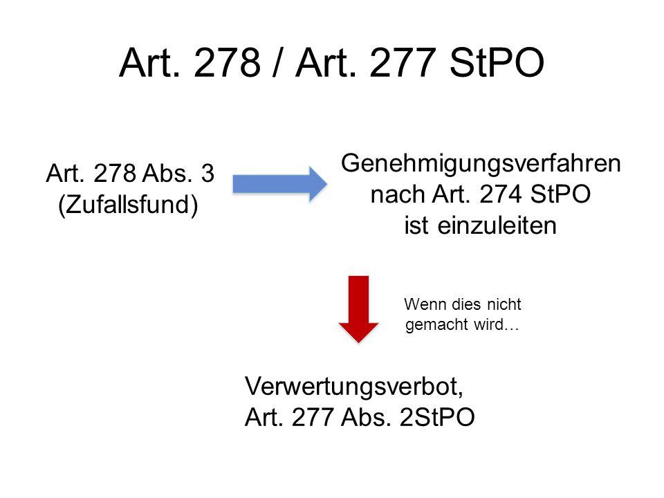 Art. 278 / Art. 277 StPO Genehmigungsverfahren nach Art. 274 StPO