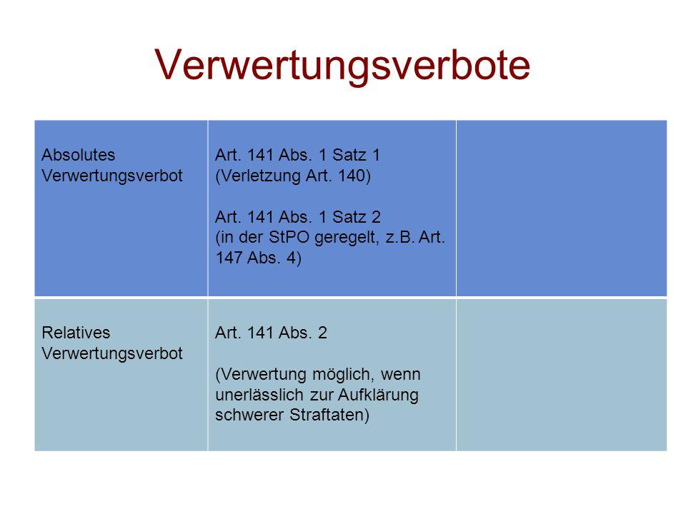 Verwertungsverbote Absolutes Verwertungsverbot Art. 141 Abs. 1 Satz 1