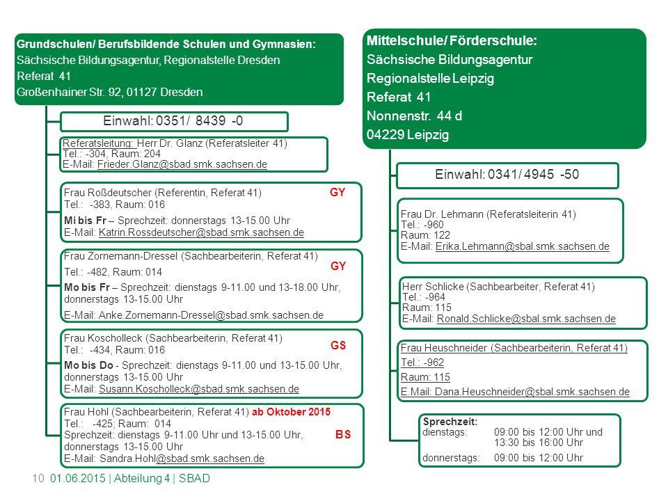 Mittelschule/ Förderschule: Sächsische Bildungsagentur