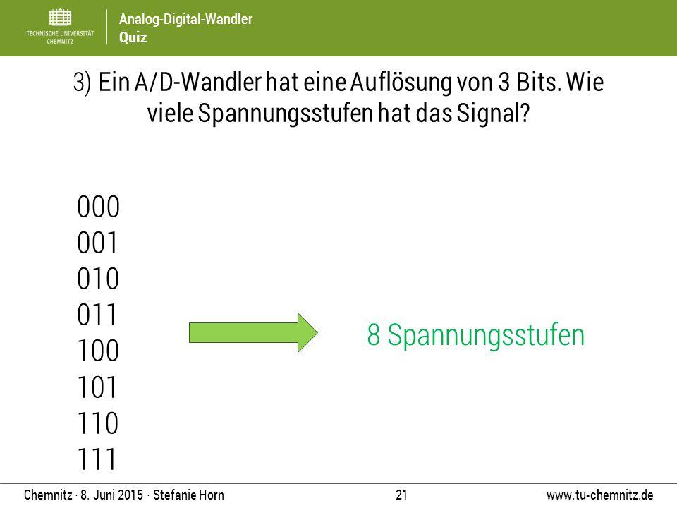 3) Ein A/D-Wandler hat eine Auflösung von 3 Bits