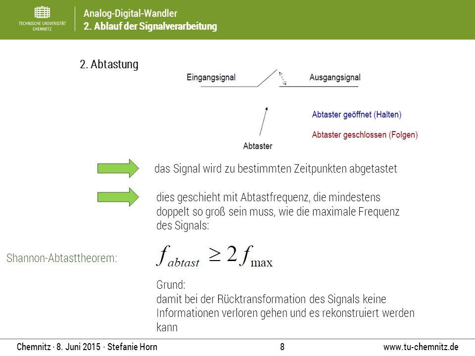 2. Abtastung das Signal wird zu bestimmten Zeitpunkten abgetastet.