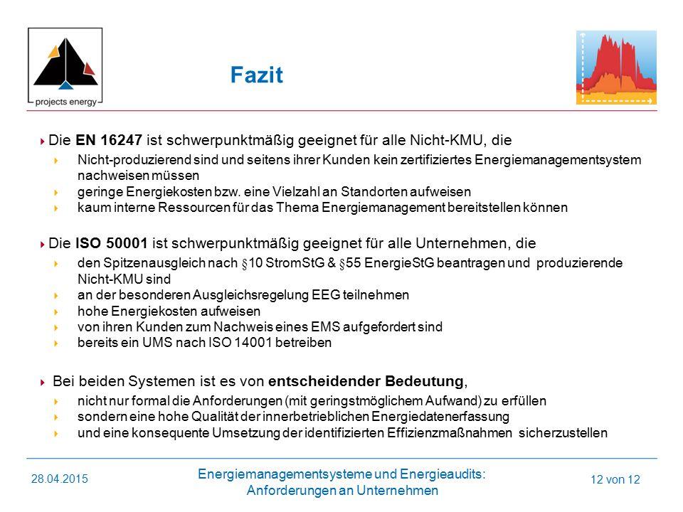 Fazit Die EN 16247 ist schwerpunktmäßig geeignet für alle Nicht-KMU, die.