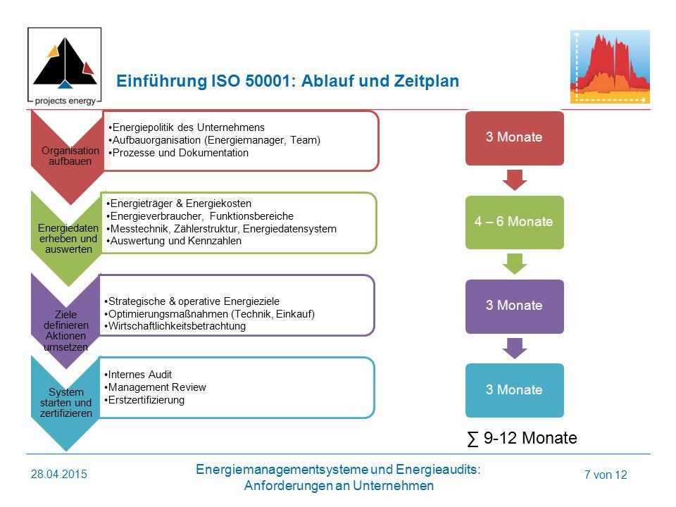 Einführung ISO 50001: Ablauf und Zeitplan
